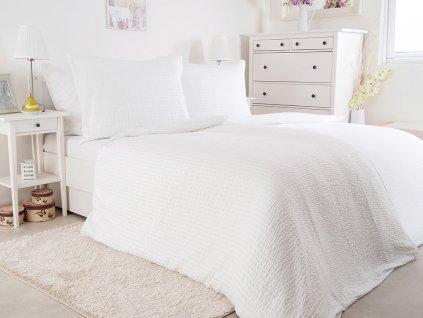 Luxusní mikrokrepové nežehlivé povlečení 140x200 - white