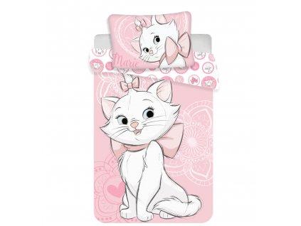 Dětské bavlněné povlečení Marie Cat Pink heart 140x200+70x90
