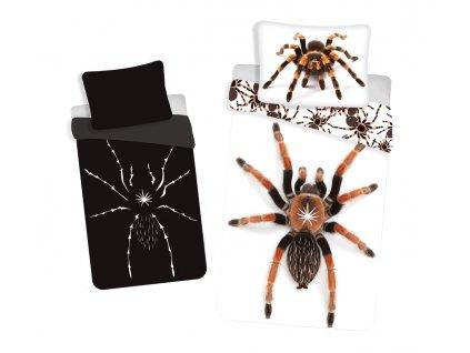 Bavlněné povlečení 3D fototisk se zipem Pavouk se svítícím efektem 140x200+70x90