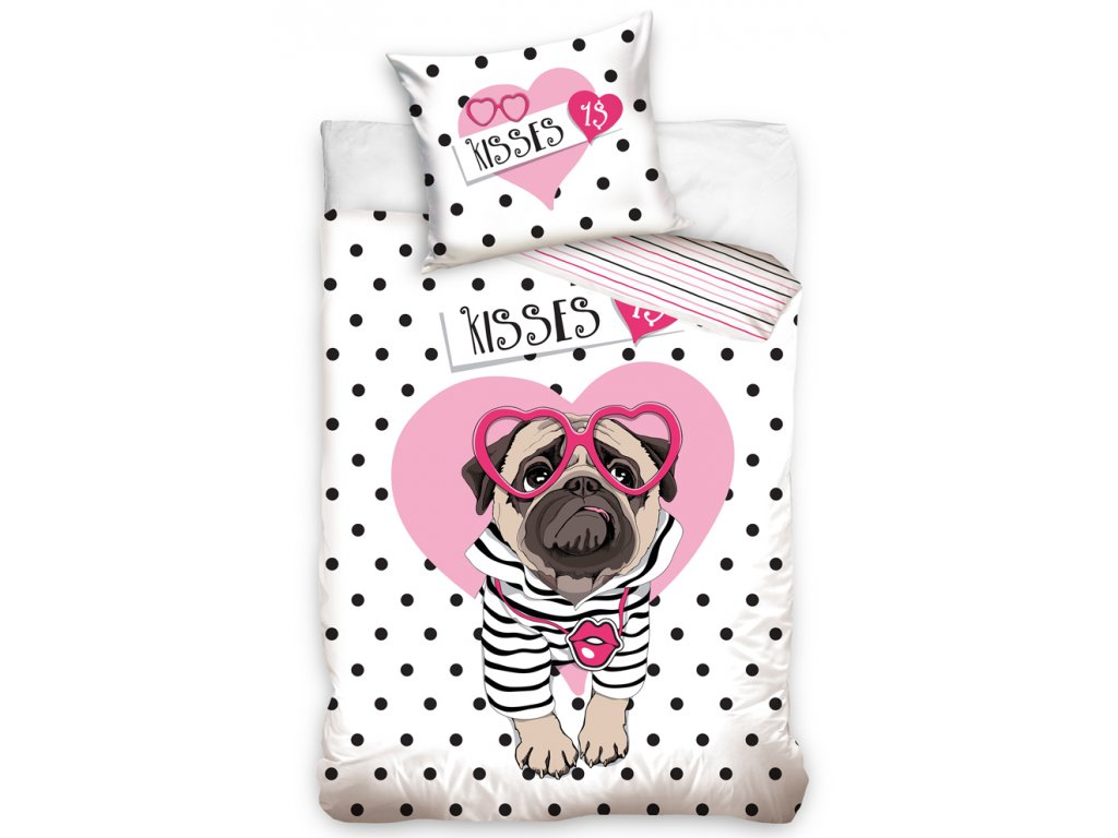 BedTex bavlna povlečení pes Mops motiv Polibek za dolar bavlna 70x90 140x200