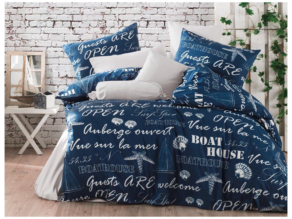 TipTrade Bavlněné povlečení 140x200 + 70x90 cm - Boat House modré