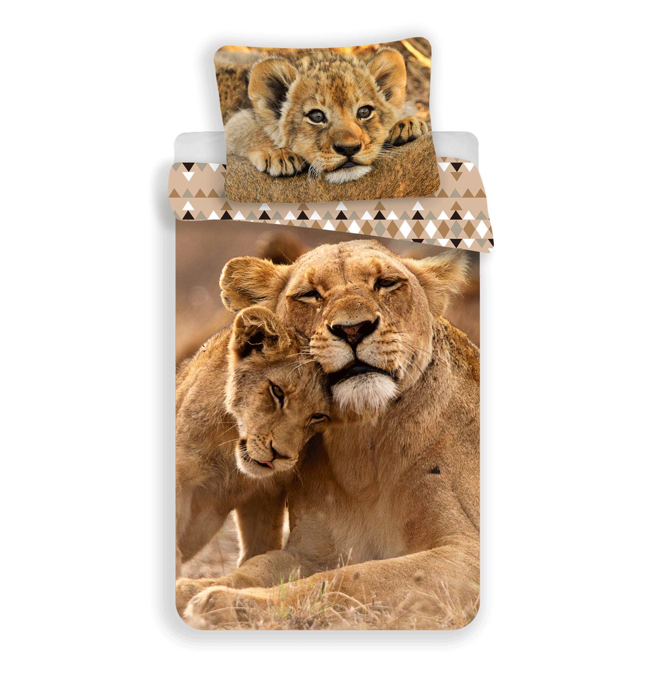 Jerry Fabrics Bavlněné povlečení 3D fototisk 140x200 + 70x90 cm - Lvíčata