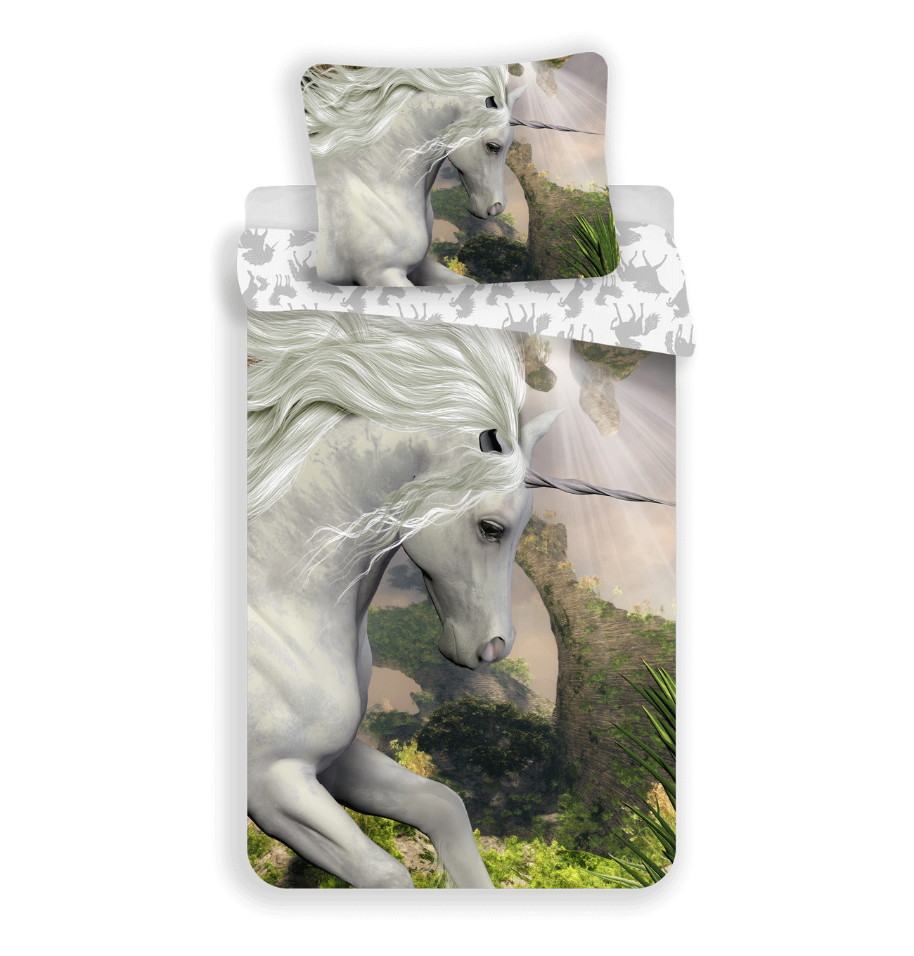 """Jerry Fabrics Bavlněné povlečení 140x200 + 70x90 cm - Unicorn""""White"""""""