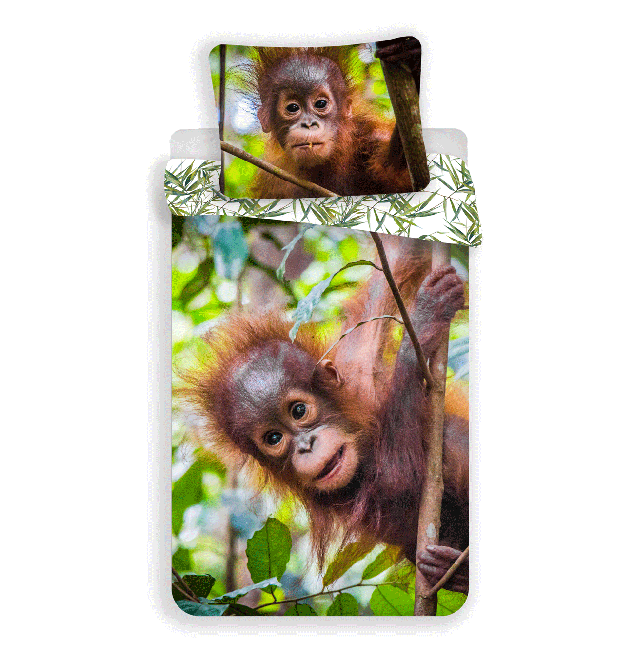 Jerry Fabrics Bavlněné povlečení 140x200 + 70x90 cm - Orangutan 02