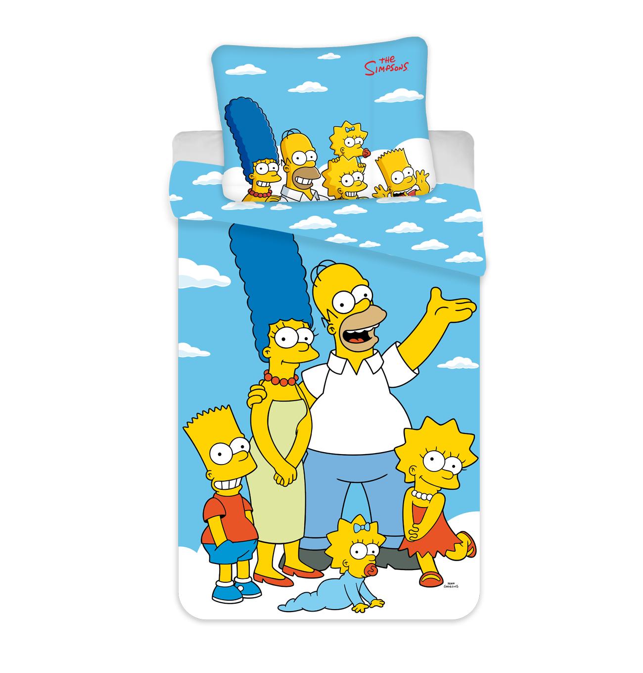 """Jerry Fabrics Bavlněné povlečení 140x200 + 70x90 cm - The Simpsons family """"Clouds 02"""""""