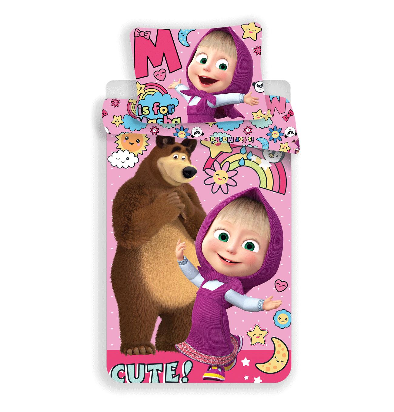 Jerry Fabrics Dětské bavlněné povlečení Máša a medvěd rainbow 140x200 cm