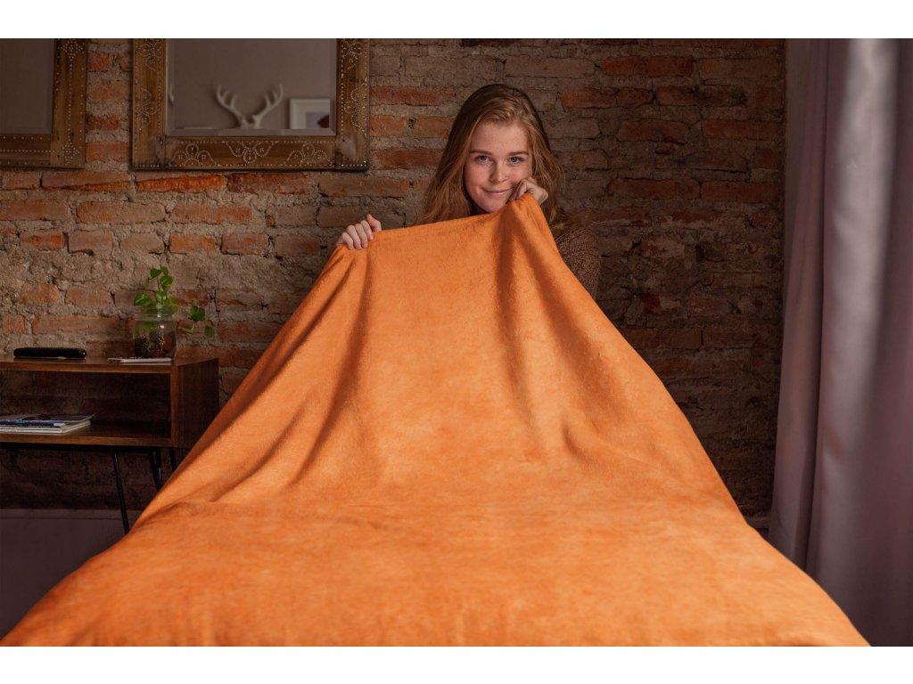 Fleecová Piknik deka oranžová