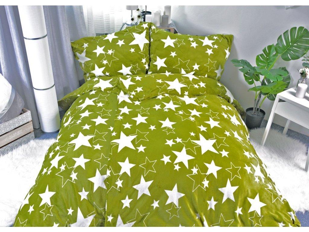 Povlečení Mikroflanel - zelené hvězdy