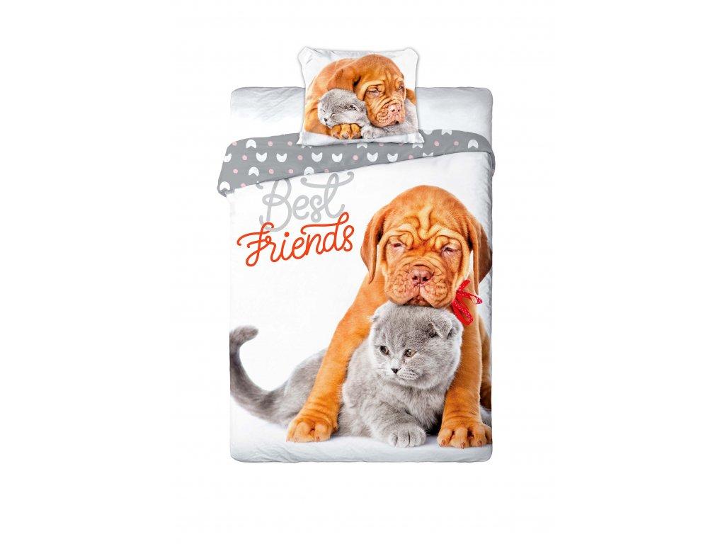 Bavlněné povlečení Doga s kočičkou