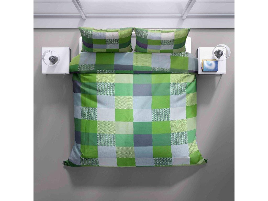 Francouzské povlečení Zelený čtverec Renforcé bavlna
