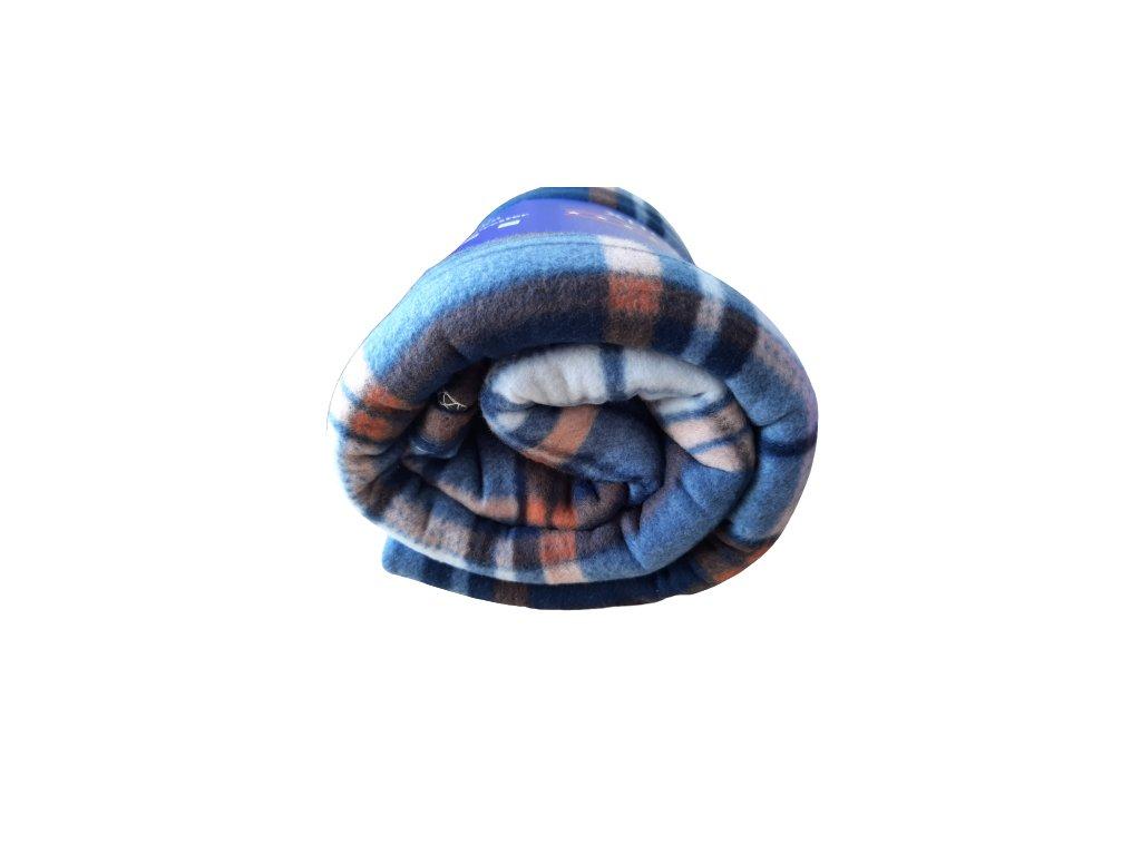 Fleecová deka káro modrá/oranžová 150x200 cm