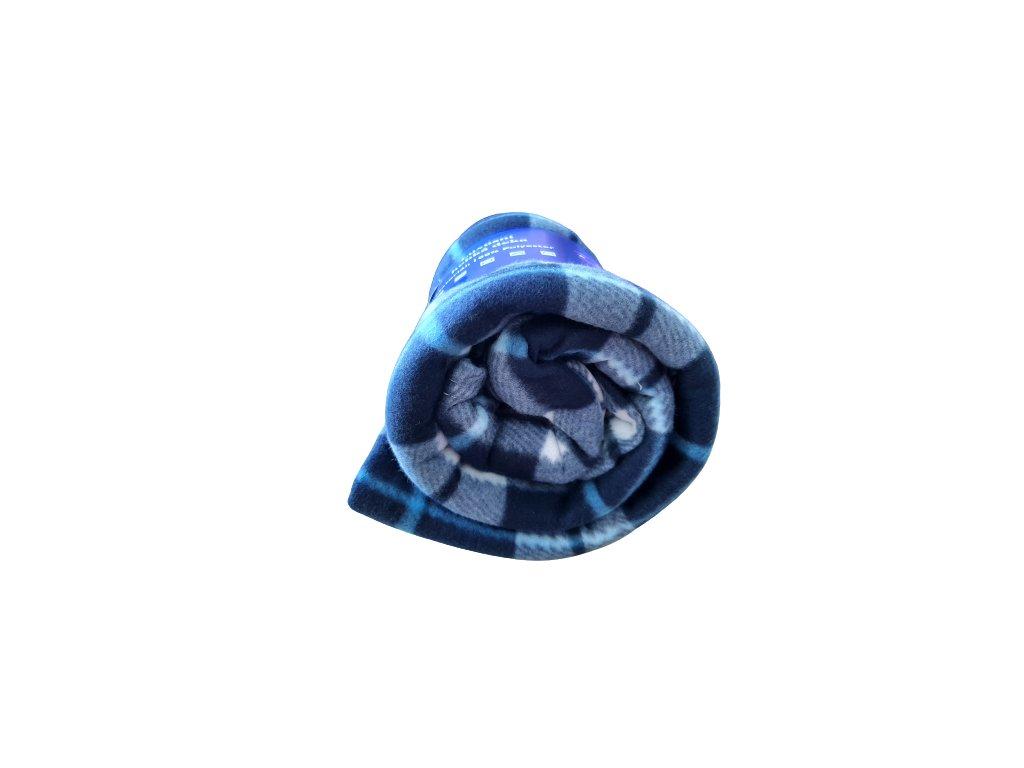 Fleecová deka káro modrá/bílá 150x200 cm