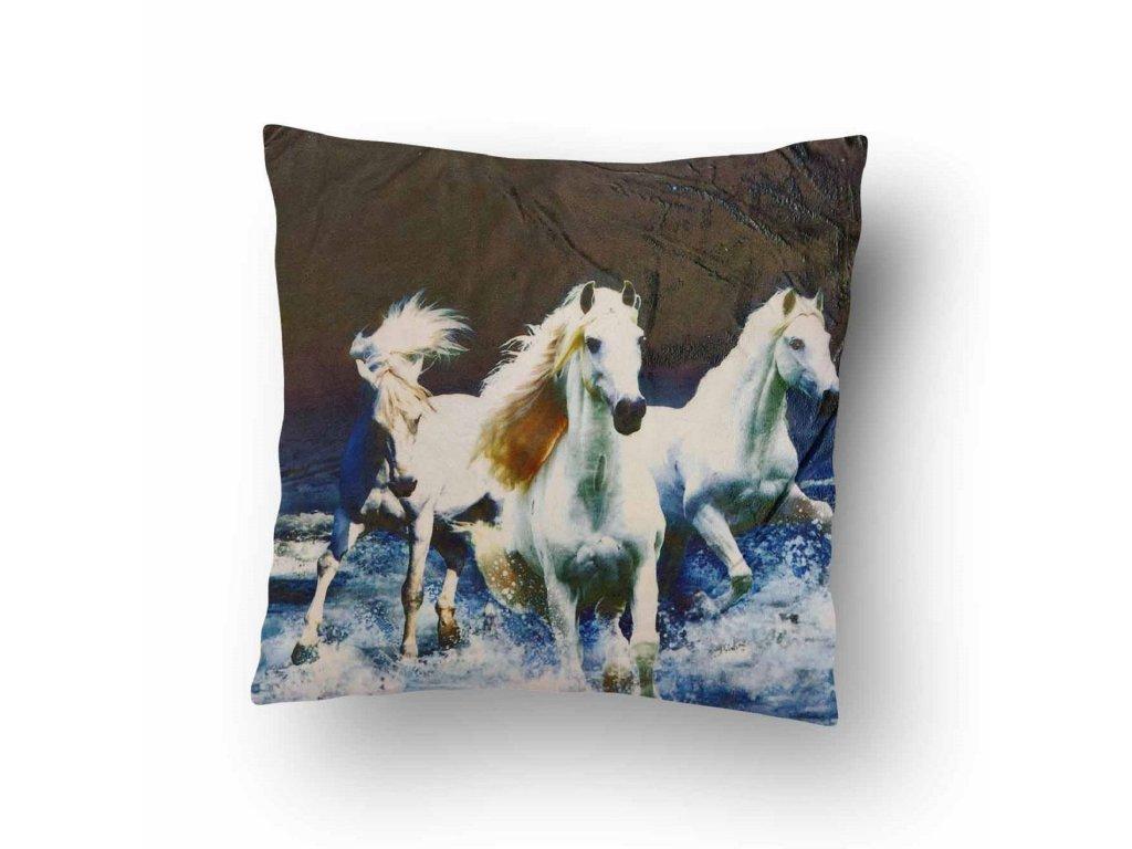 Polštářek Mikroplyš Bílé koně