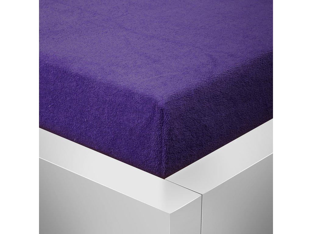 Prostěradlo Froté Top 180x200cm tmavě fialová