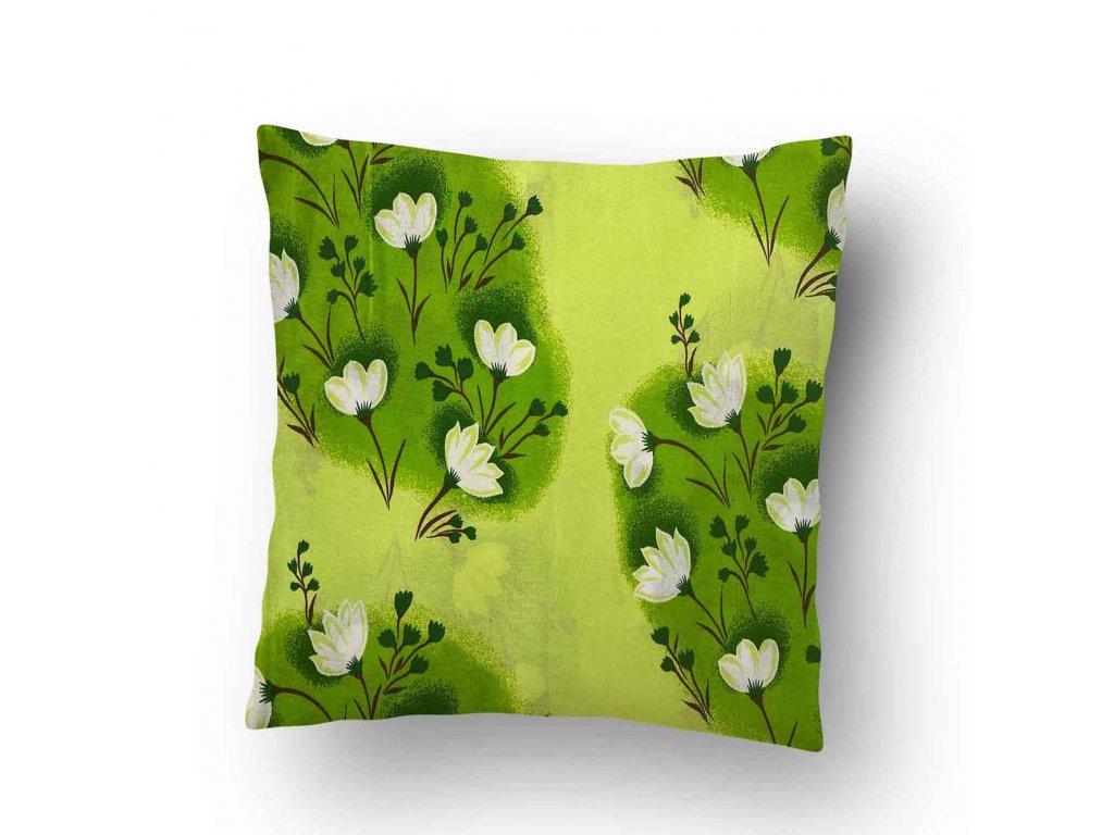 Povlak na polštářek Zelené květy 40x50 cm