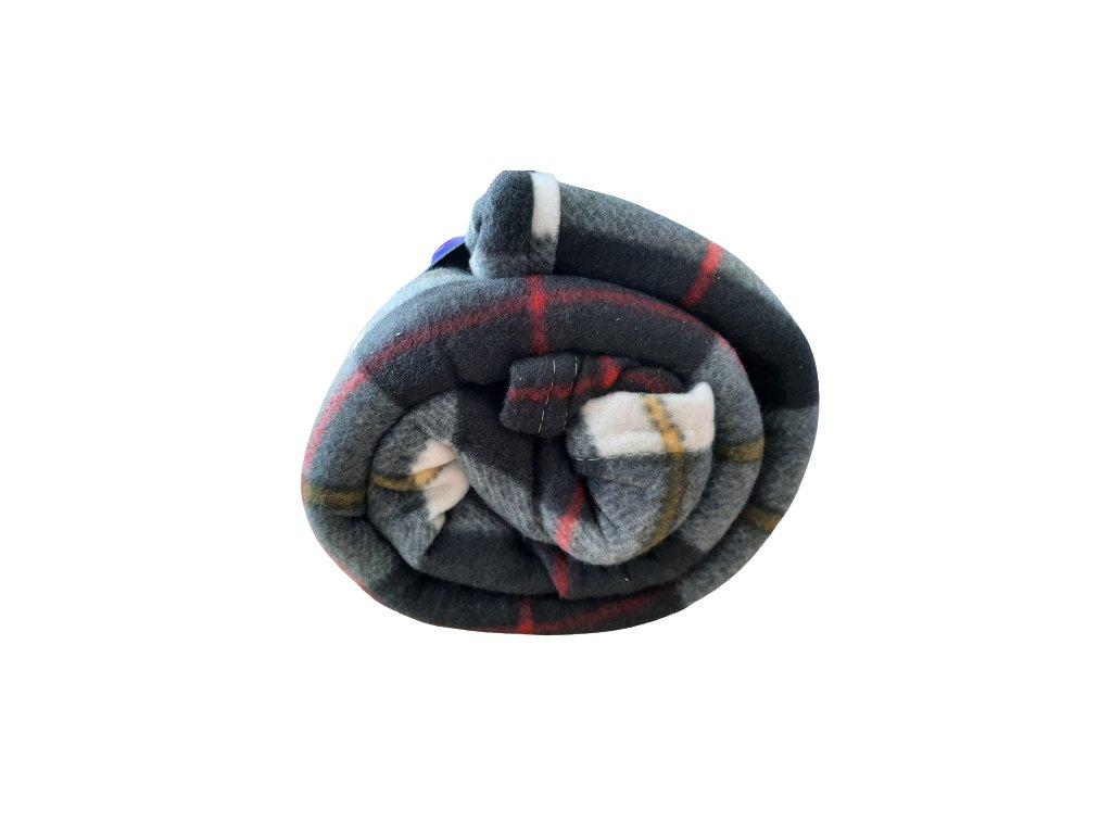 Fleecová deka káro šedá/žlutá 150x200 cm