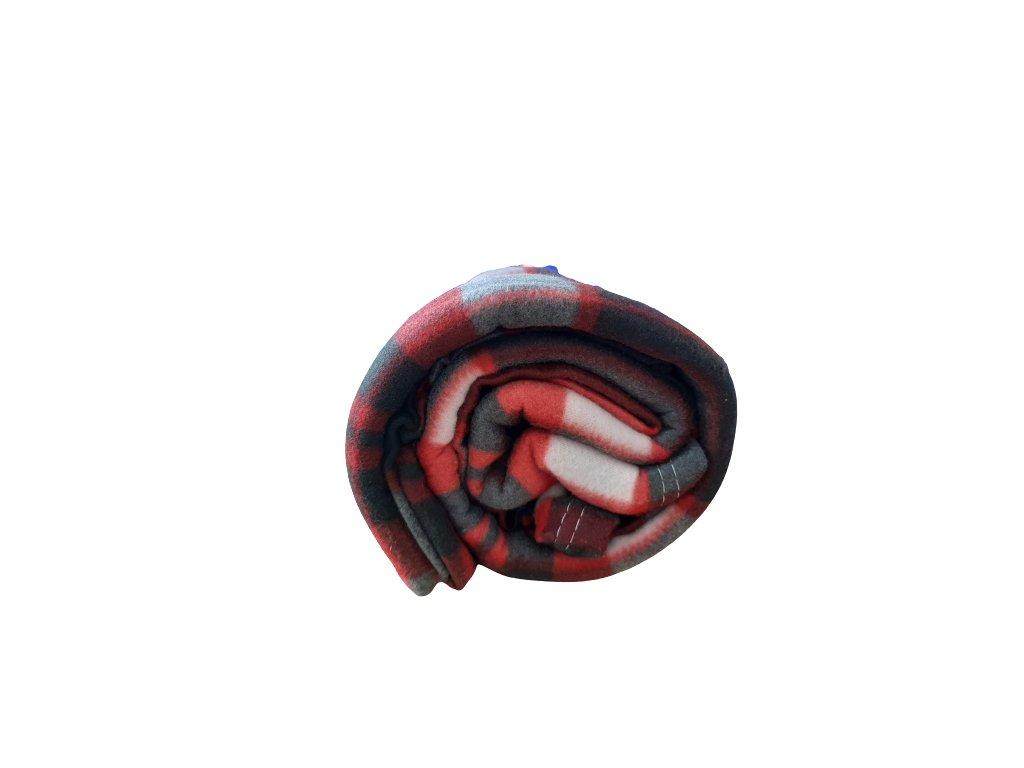 Fleecová deka káro šedá/červená 200x230 cm