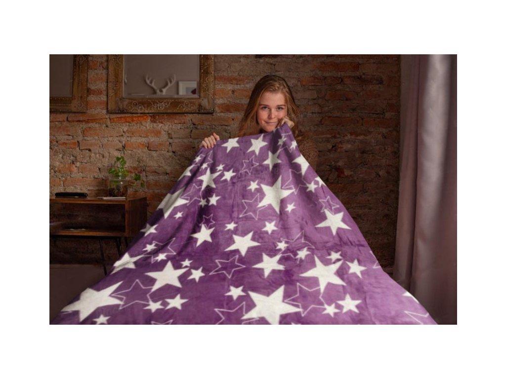 Mikroflanelová deka Hvězdy, fialová
