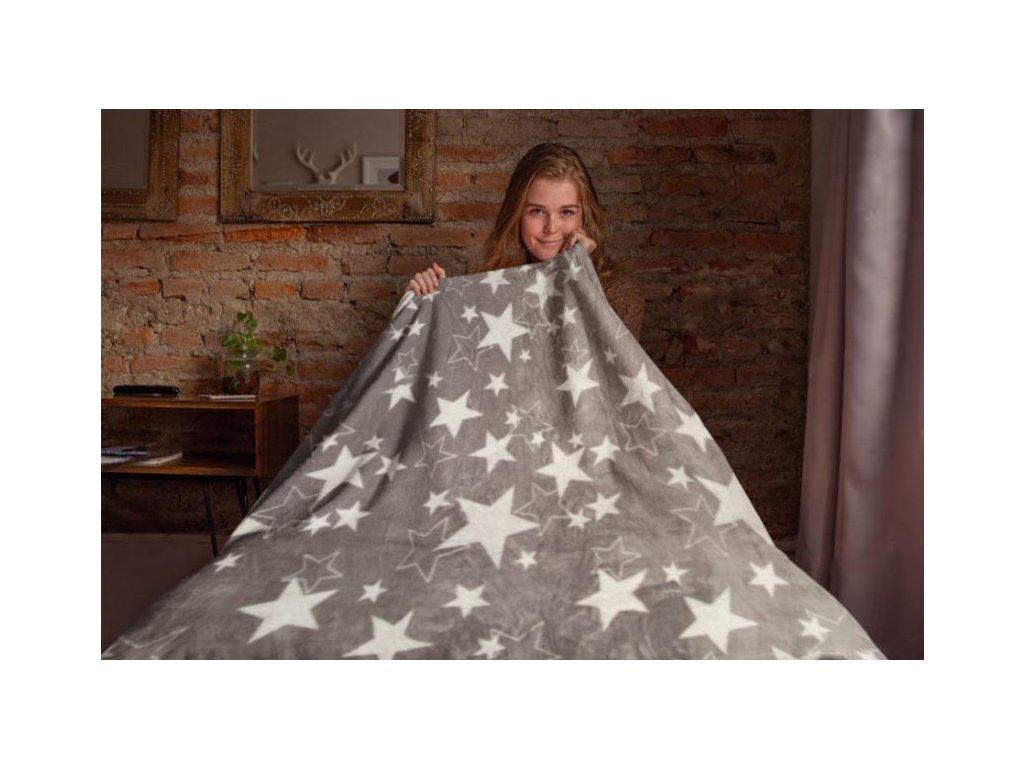 Mikroflanelová deka Hvězdy, světle šedá