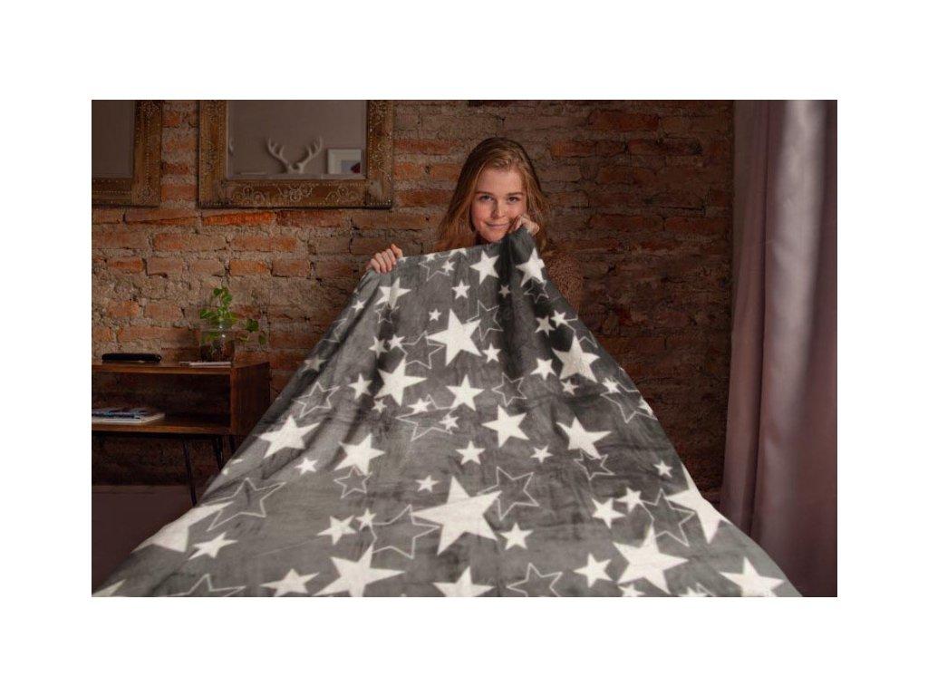 Mikroflanelová deka Hvězdy, šedá