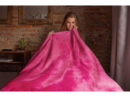 Deka mikroflanel růžová 150x200 cm
