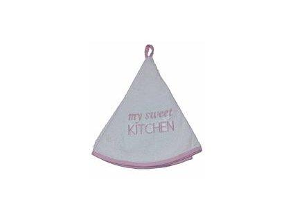 Kulatý ručník - My sweet kitchen - růžový