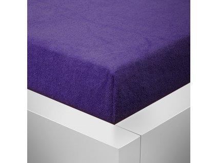 Prostěradlo Froté Top 140x200 cm tmavě fialová
