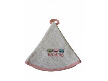 Kulatý ručník - Makronky růžové