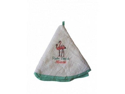 Kulatý ručník - Plameňáci