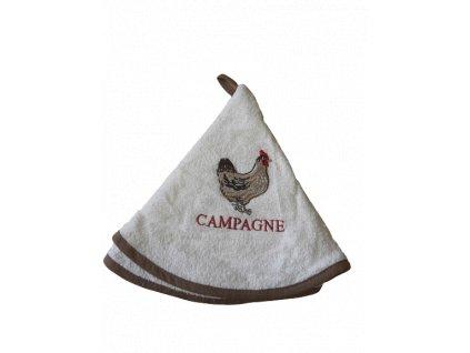 Kulatý ručník - Slepice s hnědým okrajem