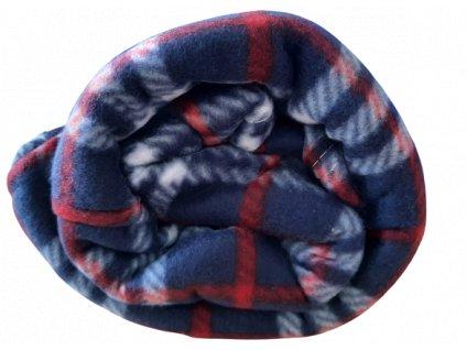 Fleecová deka káro bílá/modrá/červená 200x230 cm