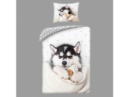 Bavlněné povlečení  husky pes +bavlněný batoh