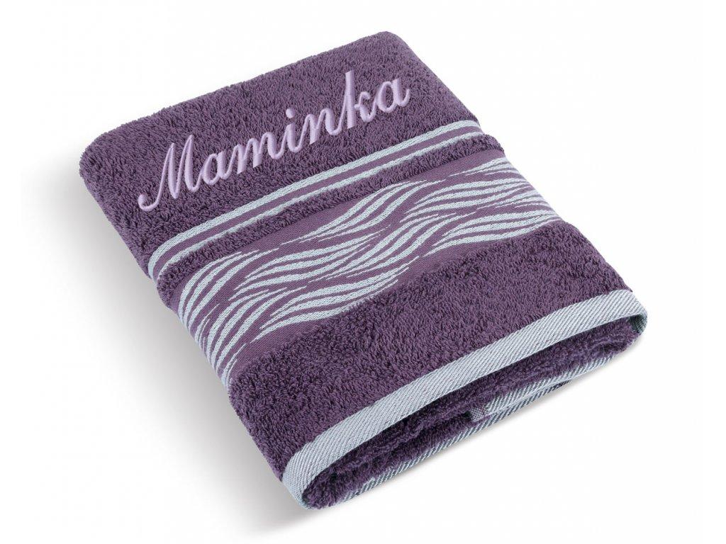 Froté ručník proužek se jménem MAMINKA
