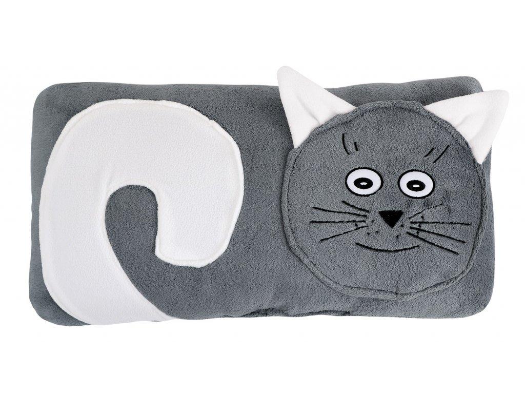 Tvarovaný polštářek - Kočička šedá