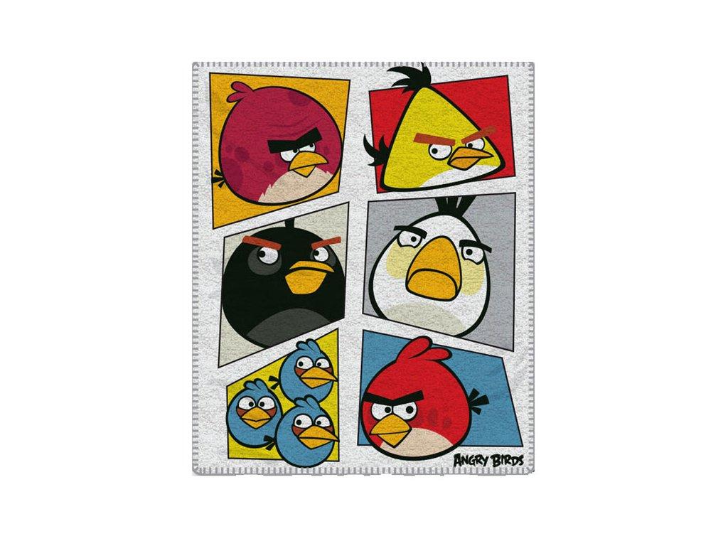 Fleece deka Angry Birds bílá 120/150