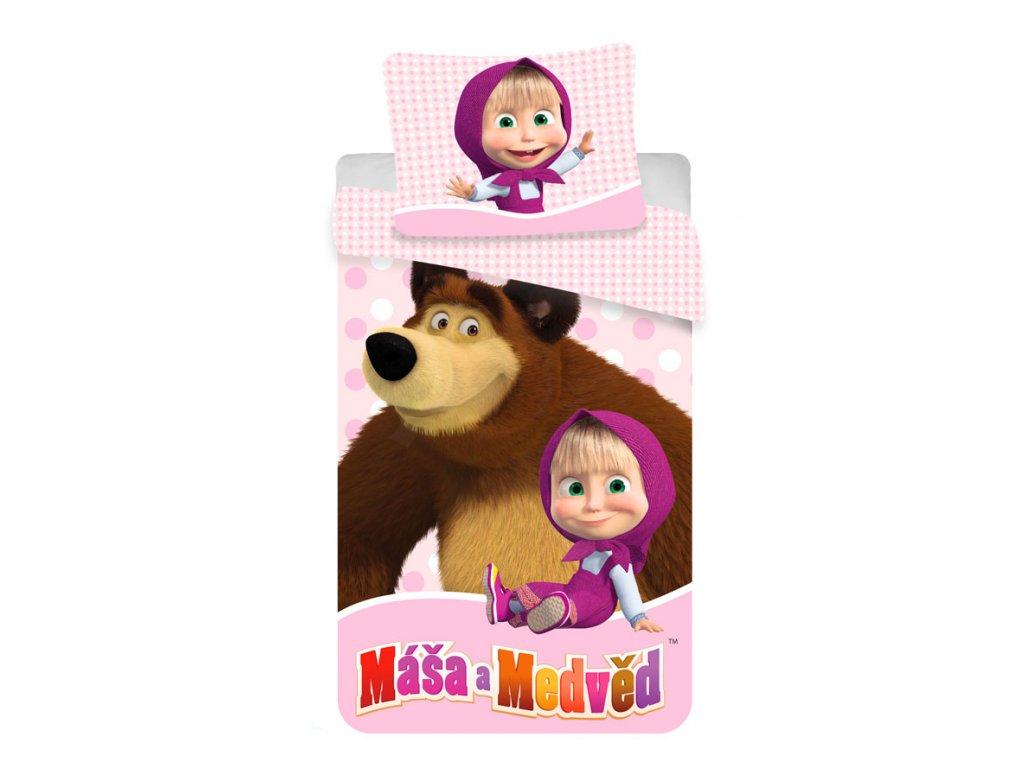 Povlečení Máša a Medvěd růžová 140x200; 70x90 cm