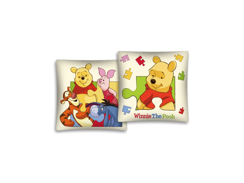 Povlak na polštářek Medvídek Pů puzzle 40x40 cm