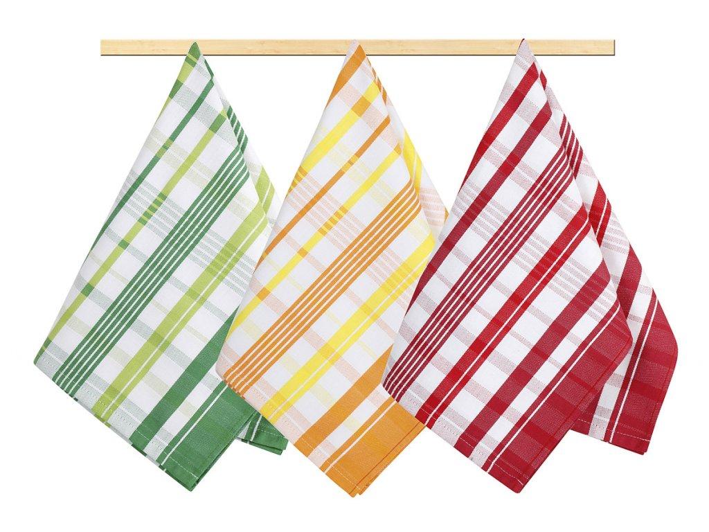Kuchyňské utěrky - oranžová, červená, zelená