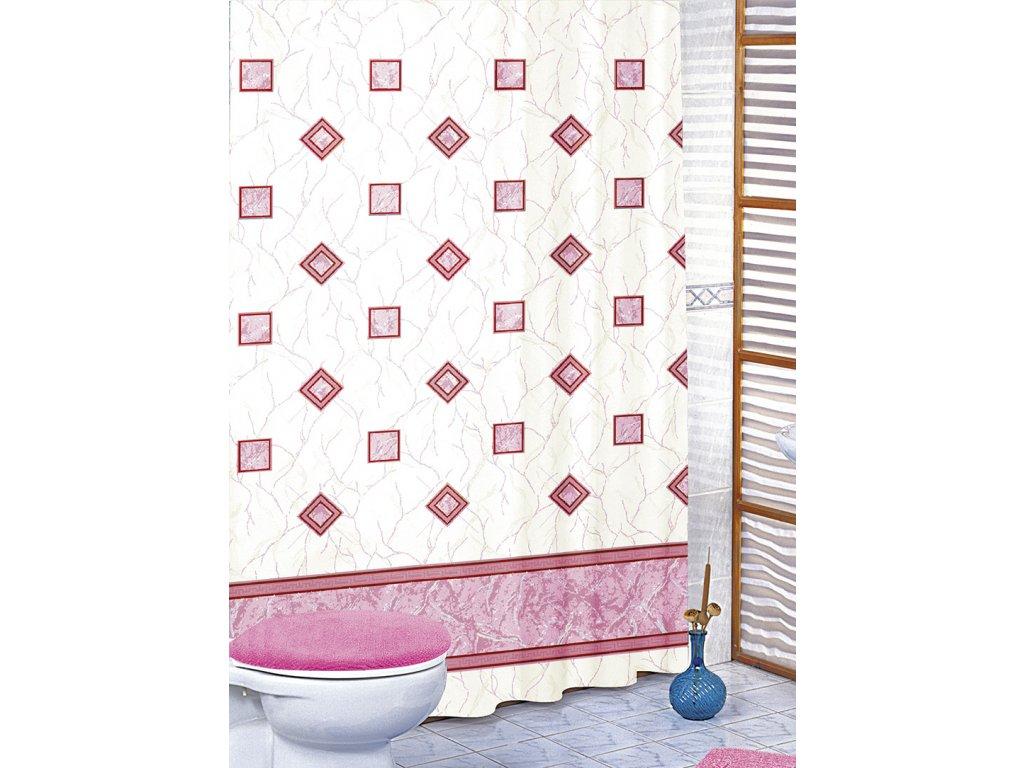 Koupelnové závěsy - růžové čtverce