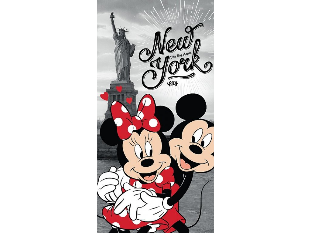 Osuška Mickey a Minnie v New Yorku 70x140 cm