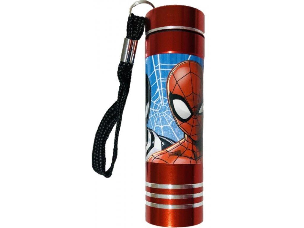 EUROSWAN Dětská hliníková LED baterka Spiderman red Hliník, Plast,  9x2,5 cm