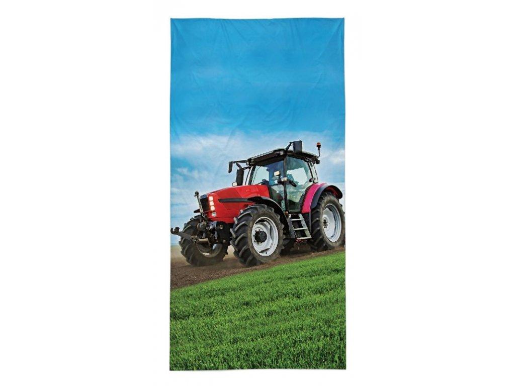 Osuška Traktor červený  70x140 cm