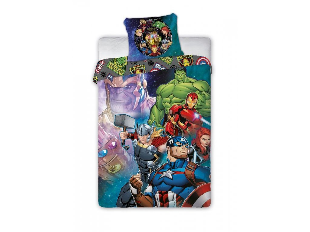 Povlečení Avengers Hero  Bavlna, 140x200, 70x90 cm