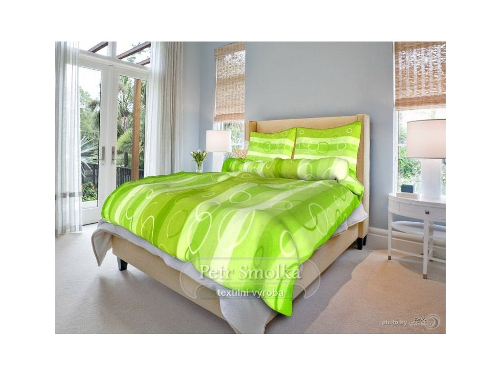 Bavlněné ložní povlečení - Kola zelená