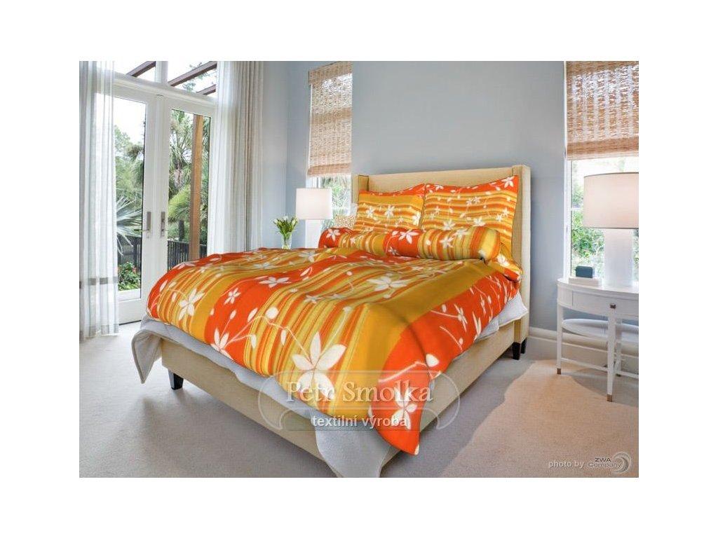 Krepové ložní povlečení - Liana oranžová
