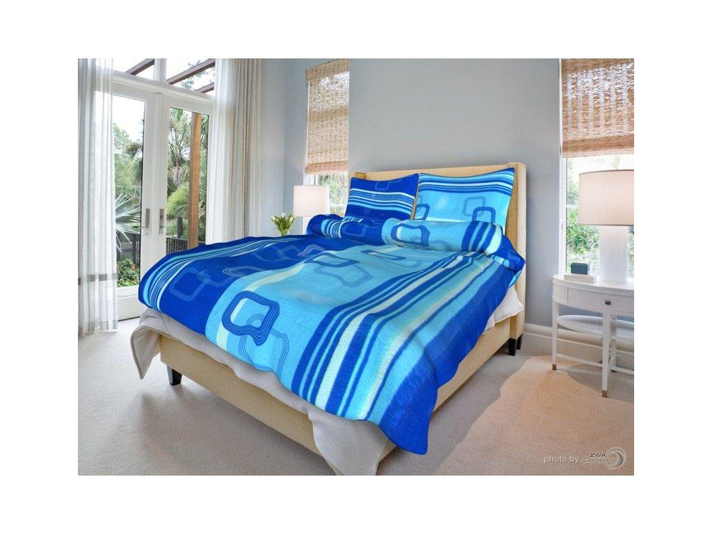 Bavlněné ložní povlečení - Tonda modrý