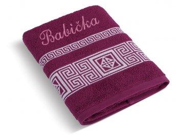 Froté ručník proužek se jménem BABIČKA