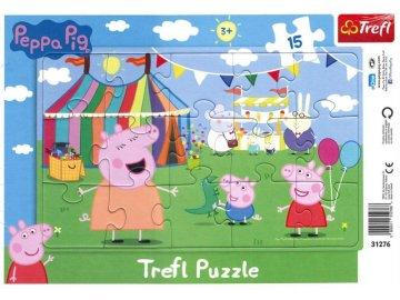 Deskové puzzle Prasátko Peppa na pouti 15 dílků