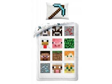 Povlečení Minecraft bílé 140x200 cm, 70x90 cm