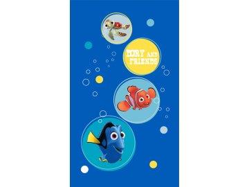 Osuška Dory a Nemo modrá  70x120 cm